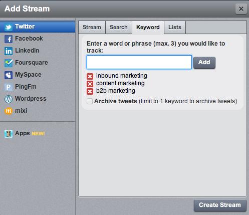 hootsuite keyword tracking
