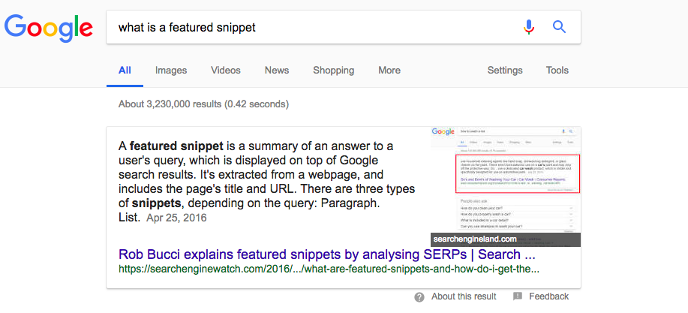 What is a featured snippet? screenshot